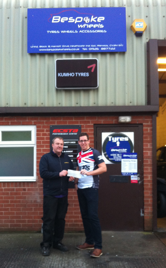 Rugby4Heroes Bespoke Wheels Cheque presentation